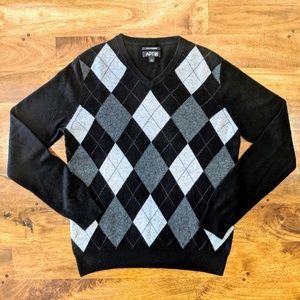 Apt. 9 100% Cashmere Women's V-Neck Argyle Sweater